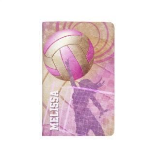 Rosa lila Mädchen-Volleyball Taschennotizbuch