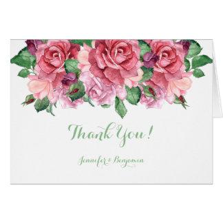 Rosa lila Pfirsichwatercolor-Rosen danken Ihnen Karte