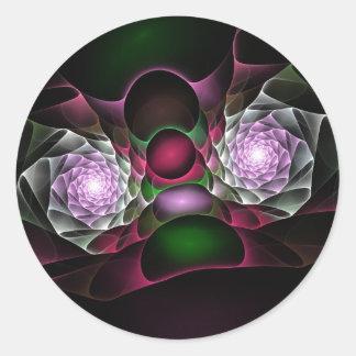 Rosa lila schwarze Blasen und Augen-Fraktal-Kunst Runder Aufkleber