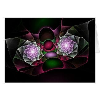 Rosa lila schwarze Blasen und Augen-Fraktal-Kunst Grußkarte