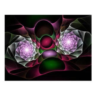 Rosa lila schwarze Blasen und Augen-Fraktal-Kunst Postkarte