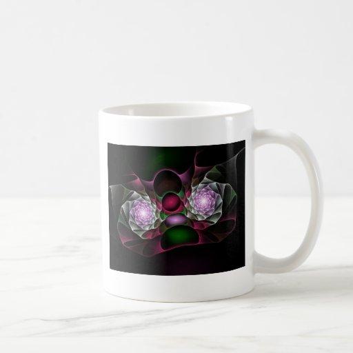 Rosa lila schwarze Blasen und Augen-Fraktal-Kunst Teehaferl