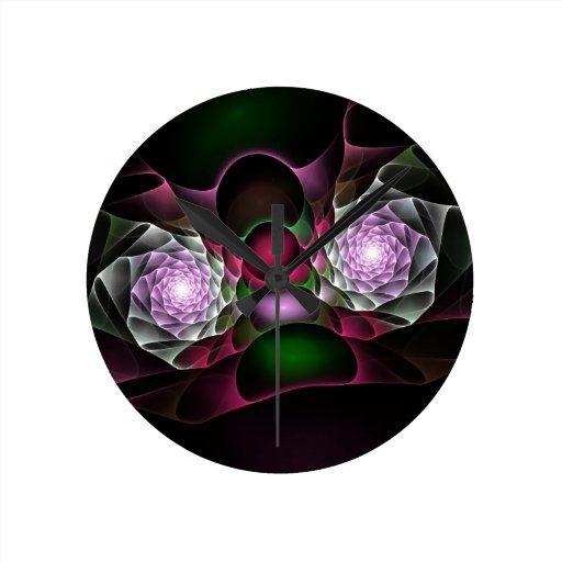 Rosa lila schwarze Blasen und Augen-Fraktal-Kunst Uhr