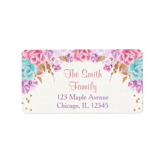 rosa lila und aquamariner adressetikett