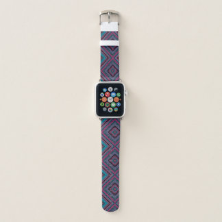 Rosa lila und blaues geometrisches Muster Apple Watch Armband