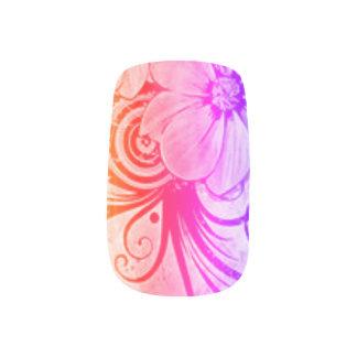 Rosa-, Lila und Orangeblumen Minx Nagelkunst