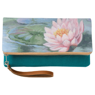 Rosa Lilie auf Wasser-Handtasche Clutch