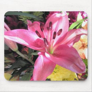 Rosa Lilien-Blumen-Lilien-Blumen-Foto Mauspads