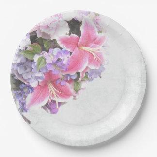 Rosa Lilien-Blumenstrauß Pappteller