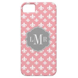 Rosa Lilien-Muster-Monogramm Schutzhülle Fürs iPhone 5