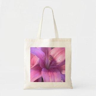 Rosa Lilien-Tasche Budget Stoffbeutel