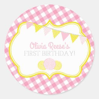 Rosa Limonade-Party-Aufkleber Runder Aufkleber