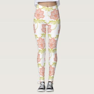 Rosa, Limone grüne und weiße Blumendruck-Gamaschen Leggings
