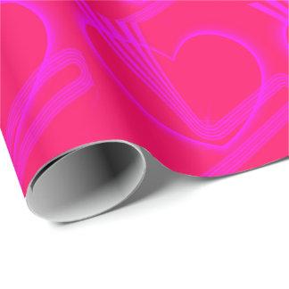 Rosa Linien des Herz-w/Zigzag Geschenkpapier