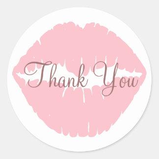 Rosa Lippen danken Ihnen Runder Aufkleber