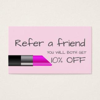 Rosa Lippenstift Empfehlungs-Karte Visitenkarten