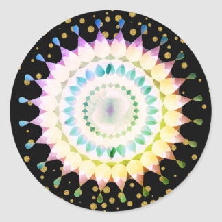 Rosa Lotos-Blume auf GoldConfetti Runder Aufkleber