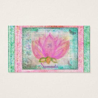 Rosa Lotos-Blume Namaste Visitenkarte