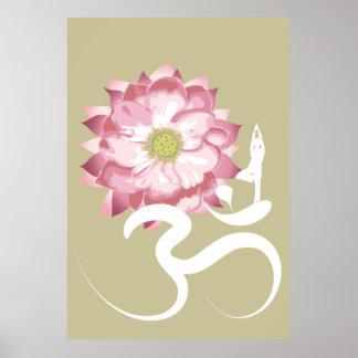 Rosa Lotos-Blumen-Yoga-weißer OM-SymbolZen Plakatdrucke