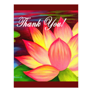 Rosa Lotos-Wasser-Lilien-Blume danken Ihnen - mult 21,6 X 27,9 Cm Flyer