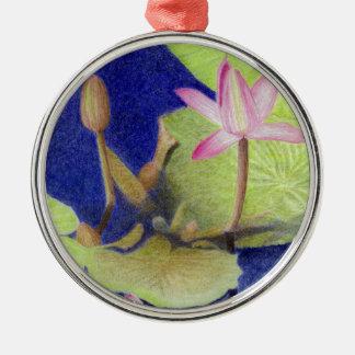 Rosa Lotos-Wasserlilie-Blumen Silbernes Ornament