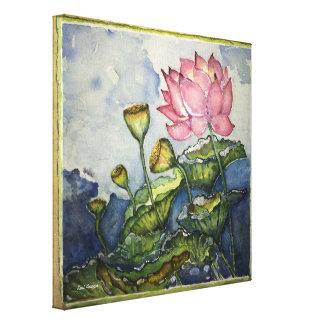 Rosa Lotoswatercolor-Druck-12x12 eingewickelte Leinwanddruck