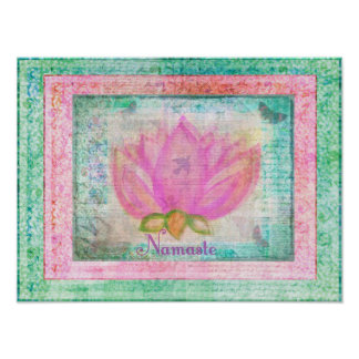 Rosa Lotus-Blüte Namaste Yoga Poster