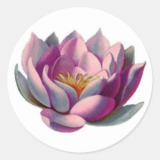 Rosa Lotus-Blüte Runder Aufkleber