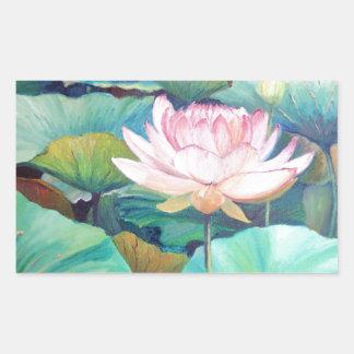 Rosa Lotus-Blüten-Aufkleber Rechteckiger Aufkleber