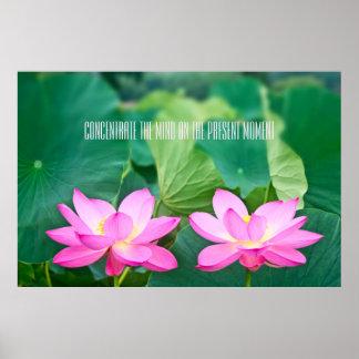 Rosa Lotus-Paar-Inspirations-Paar-Teich-Grün-Blatt Poster