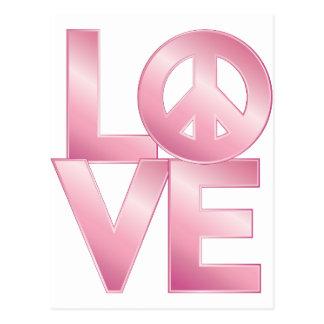 Rosa LOVE=Peace Postkarte