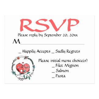 Rosa Lovebirdsblumenwreath-Hochzeit/Party Postkarte