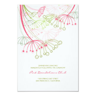 Rosa Löwenzahn-Blumen-Frühlings-Hochzeits-Empfang Karte