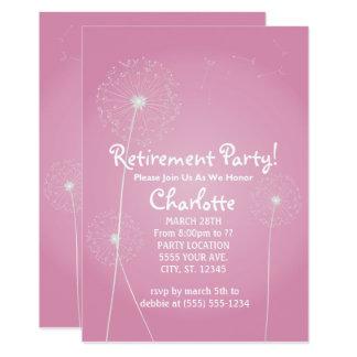 Rosa Löwenzahn-Ruhestands-Party Einladungen