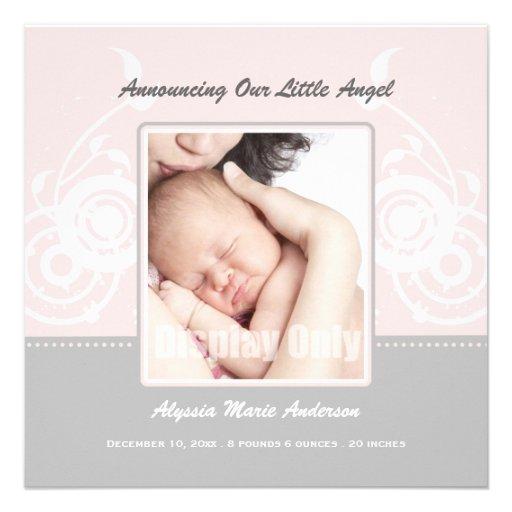 Rosa Mädchen-Foto-Geburts-Mitteilung Individuelle Einladungskarte