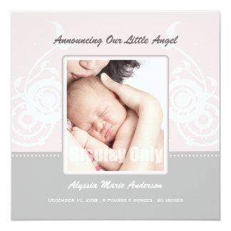 Rosa Mädchen-Foto-Geburts-Mitteilung Quadratische 13,3 Cm Einladungskarte