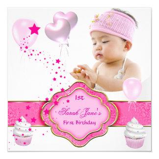 Rosa Mädchen-Foto-zuerst 1. Geburtstags-Party Quadratische 13,3 Cm Einladungskarte