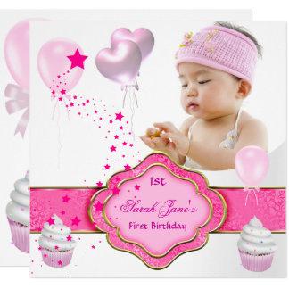 Rosa Mädchen-Foto-zuerst 1. Geburtstags-Party Karte