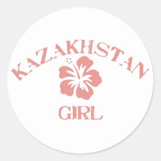Rosa Mädchen Kasachstans Runde Aufkleber