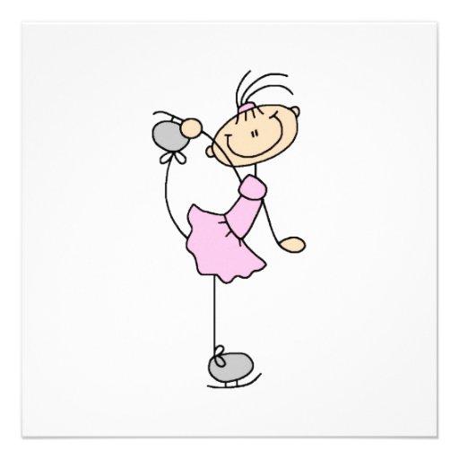 Rosa Mädchen-Strichmännchen-Eis-Skater Einladungskarte