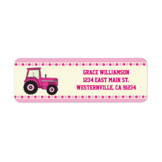 Rosa Mädchen-Traktor-Rücksendeadressen-Aufkleber