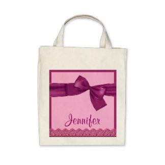 ROSA MAGENTAROTER Imitat-Bogen und Einkaufstaschen