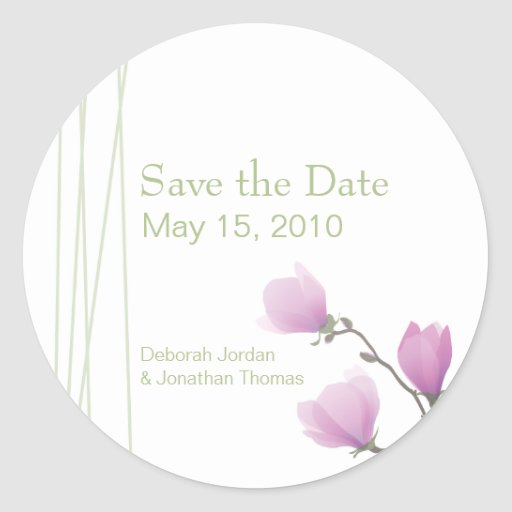 "Rosa Magnolie ""Save the Date"" Aufkleber"