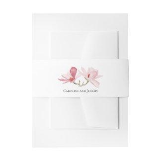 Rosa Magnolien-Aquarell-Blumenhochzeit Einladungsbanderole