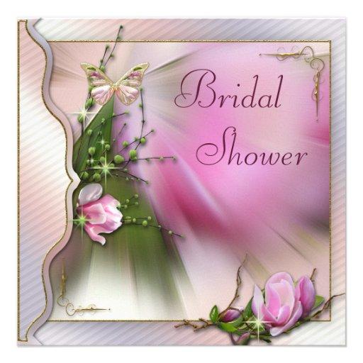Rosa Magnolien-Schmetterlings-Schein-Brautparty Individuelle Ankündigungskarte