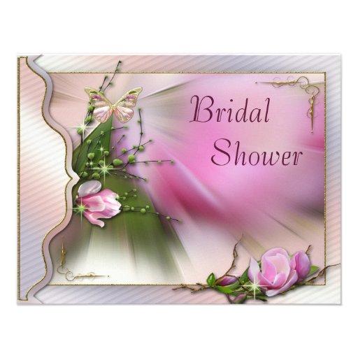 Rosa Magnolien-Schmetterlings-Schein-Brautparty Individuelle Einladungskarte