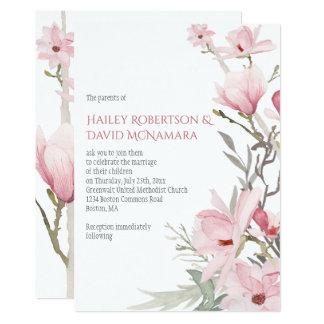 Rosa Magnolien und Grün-Hochzeits-Einladungen 12,7 X 17,8 Cm Einladungskarte