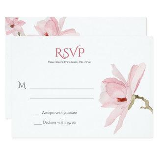 Rosa Magnolien und Grün RSVPs 8,9 X 12,7 Cm Einladungskarte