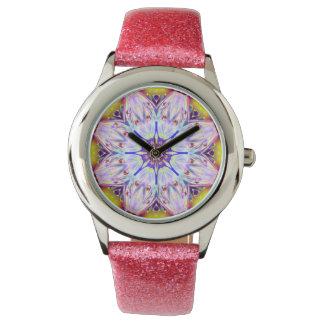 Rosa Mandala-Kaleidoskop Uhr