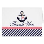 Rosa Marine-Seeanker danken Ihnen Anmerkungs-Karte